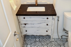 Toronto Condo Renovation Bathroom with antique vanity 1