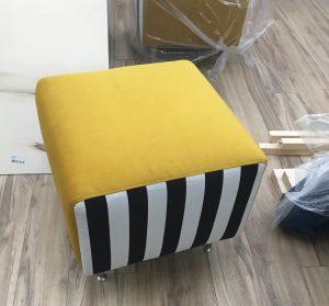 Modern ottoman, striped black & white, yellow