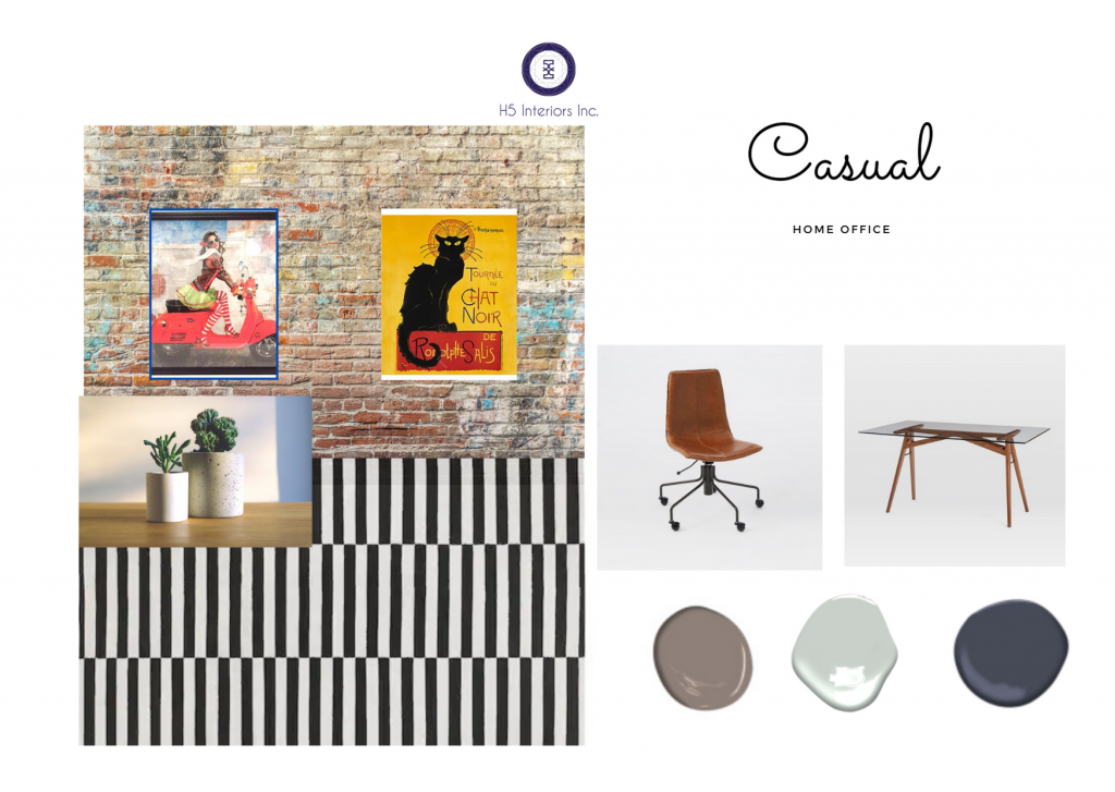 brick wall, bright coloured art, black and white rug, tan leather chair, glass top table with wooden legs