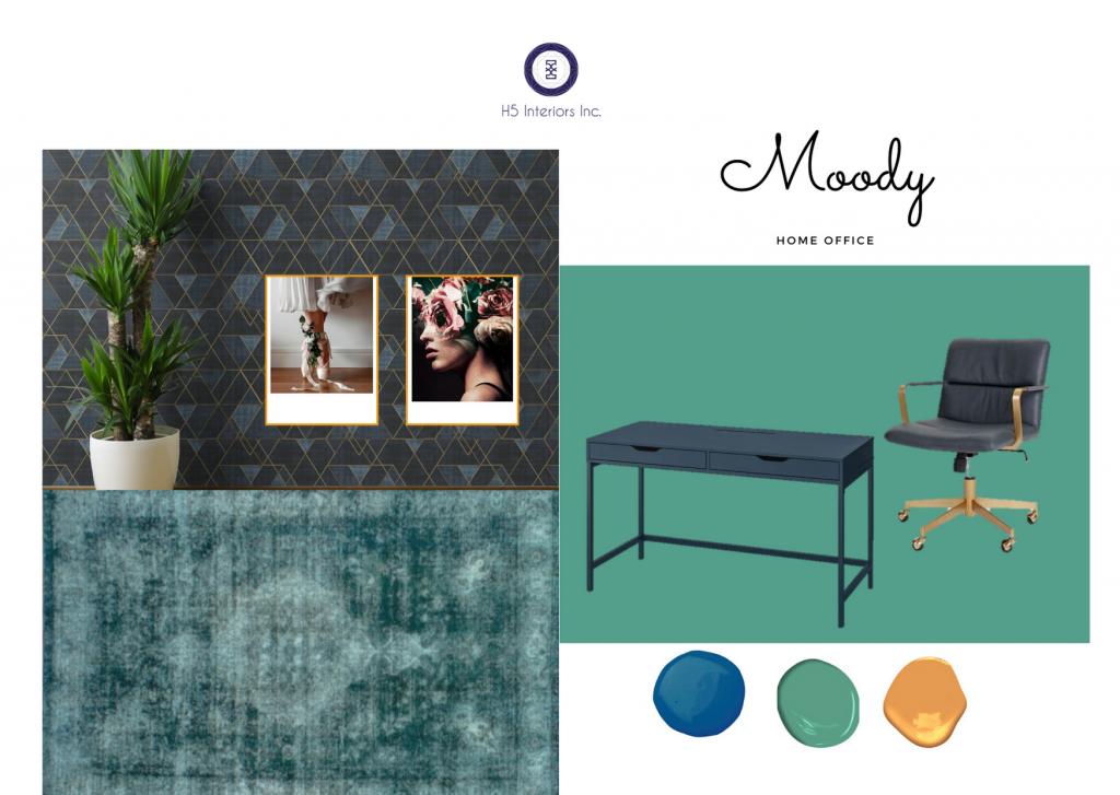 Dark grey, gold and aqua wallpaper, dark blue desk with black and gold chair, deep aqua rug, big modern art