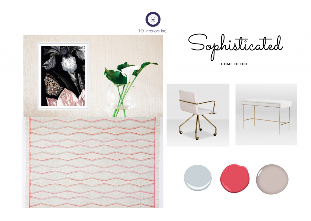 Rug off-white and pink, white and gold chair, white and gold desk, blush walls and plant in water