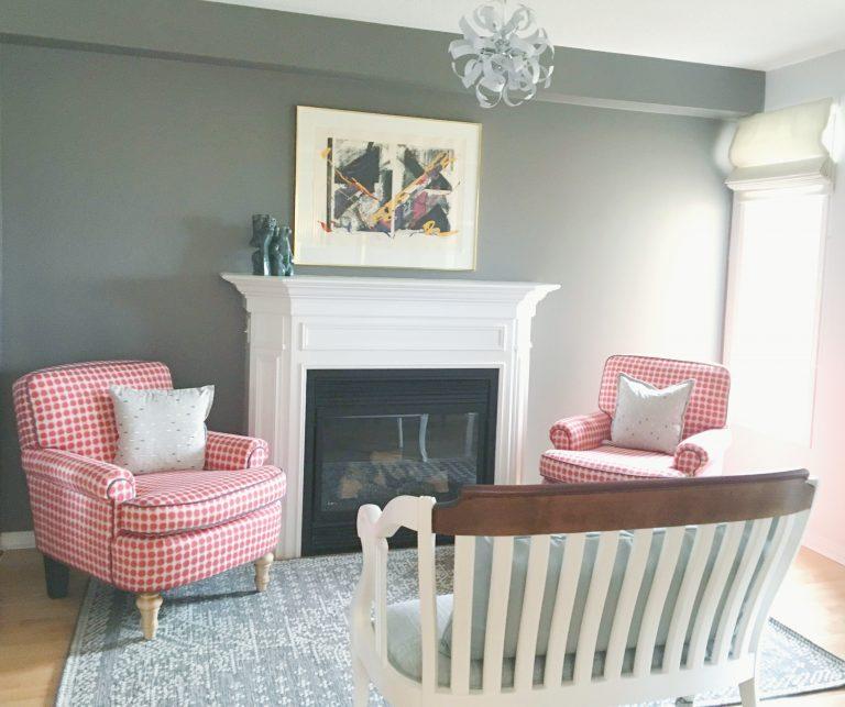 Dark Accent Wall, fireplace, art, vintage settee,