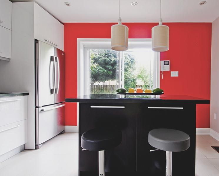 Remodel, main floor, red wall, white kitchen, custom wood veneer pendants