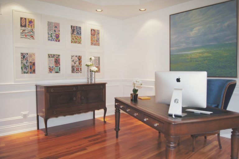 Home office, Open and modern, vintage dresser, wall art collection