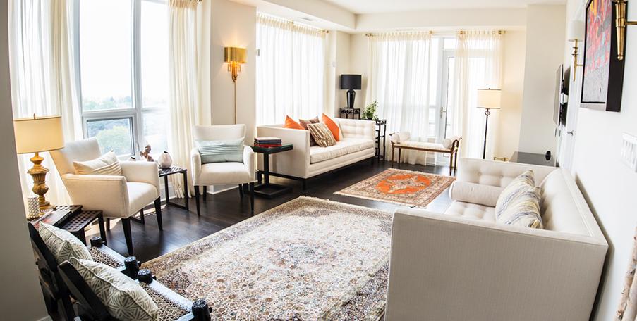 White interior with accent orange, north york toronto