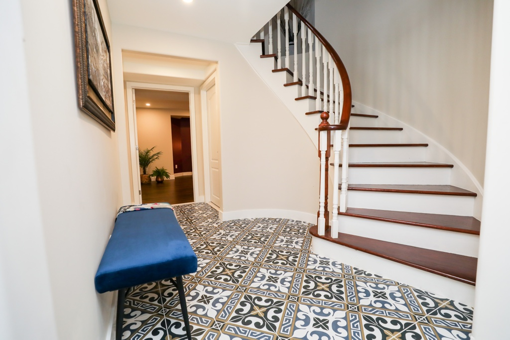 Stairs Basement, patterned tile, oakville basement, space planning + design and finishing