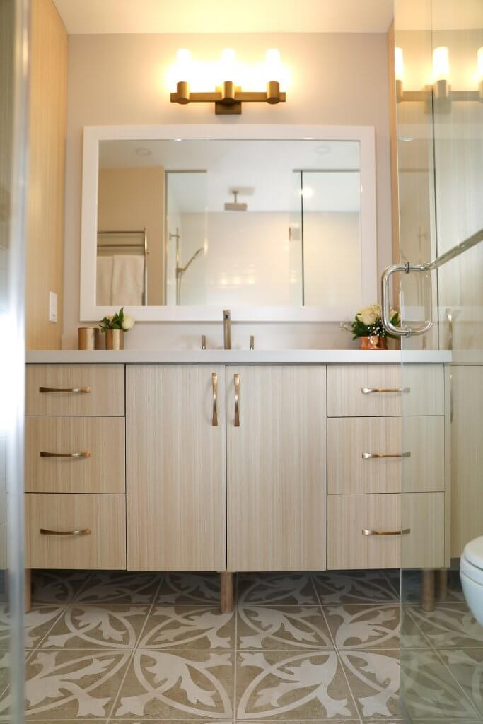 Thronhill, Bathroom, Patterned tile, redesign, space palnning, custom cabinets